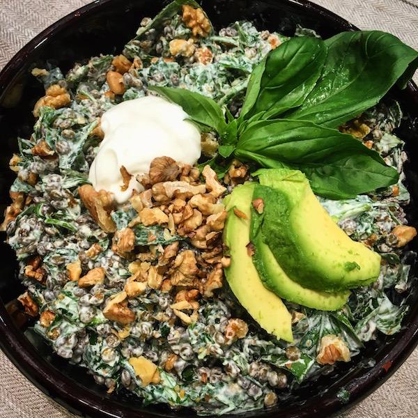 Lentil salad, spinach,basil, nuts