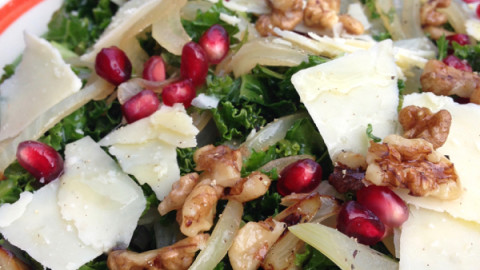 Kale Salad, with Dates, Pomegranate and Shaved Parmesan