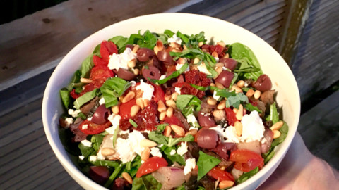 Mediterranean Summer Salad with Juicy Roasted Cherry Tomatoes
