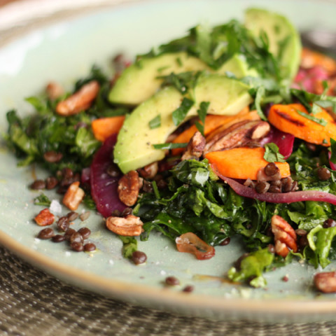 Autumn Coloured Kale Salad, with a Citrus Dressing