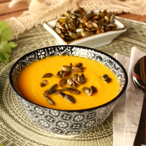 Thai infused Pumpkin Soup, with toasted Ume Bushi Pumpkin Seeds
