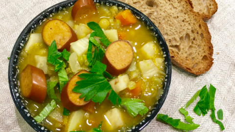 Delicious Traditional Dutch Pea Soup, Vegan Style