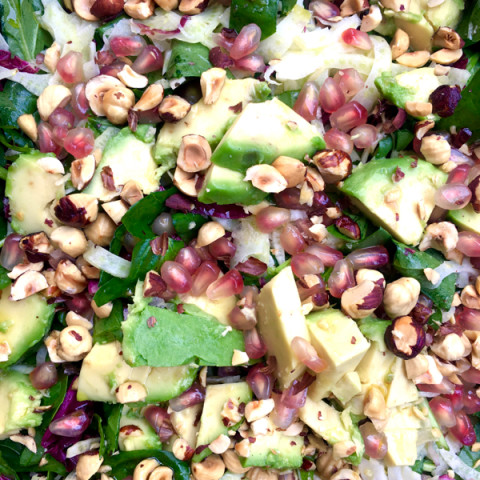 Spring Salad with spinach, fennel, radicchio, avocado and hazelnuts